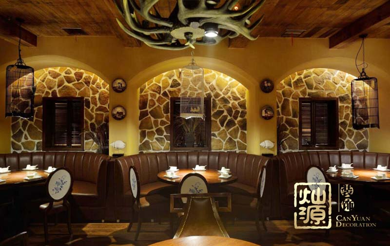 宴遇园林式中餐厅亿博国际开户案例-灿源装饰