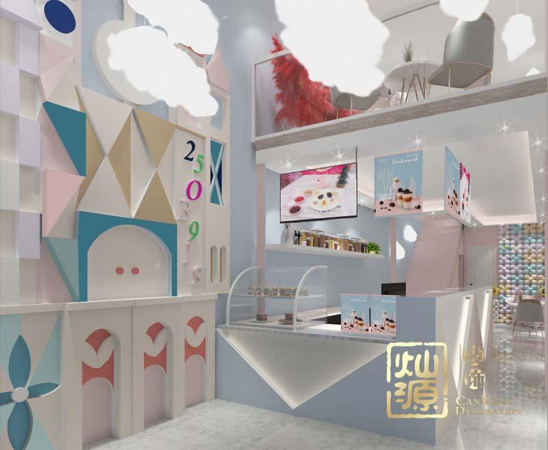 甜小小网红奶茶店设计亿博国际开户案例-灿源装饰