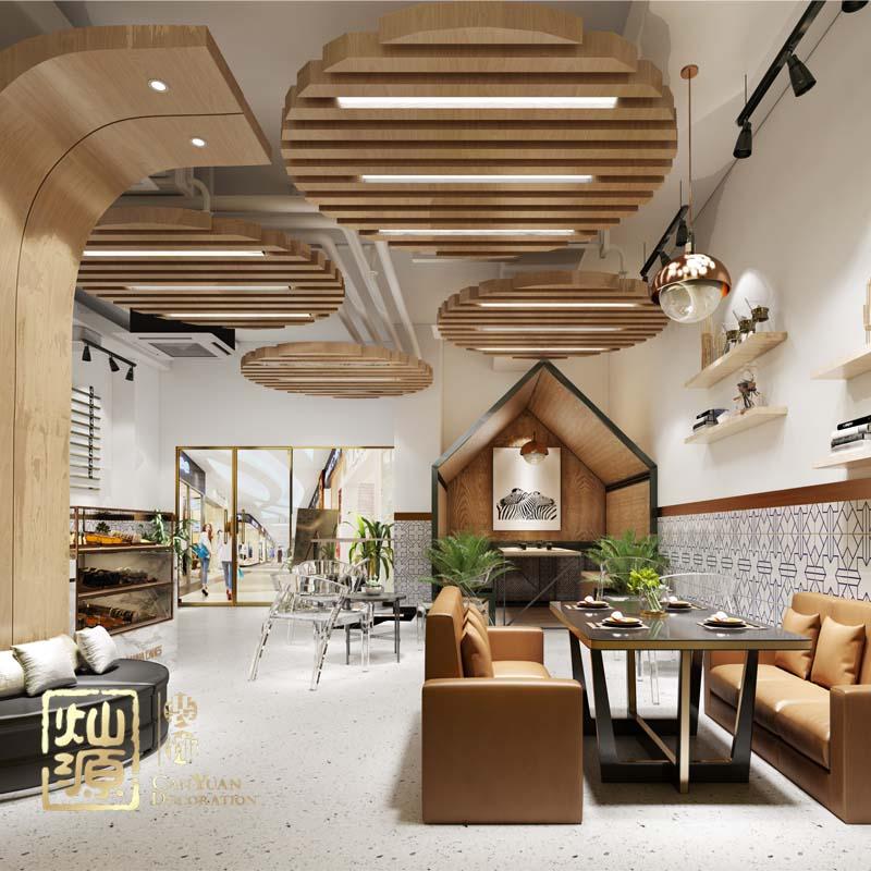 千杯饮咖啡厅设计亿博国际开户案例-灿源装饰